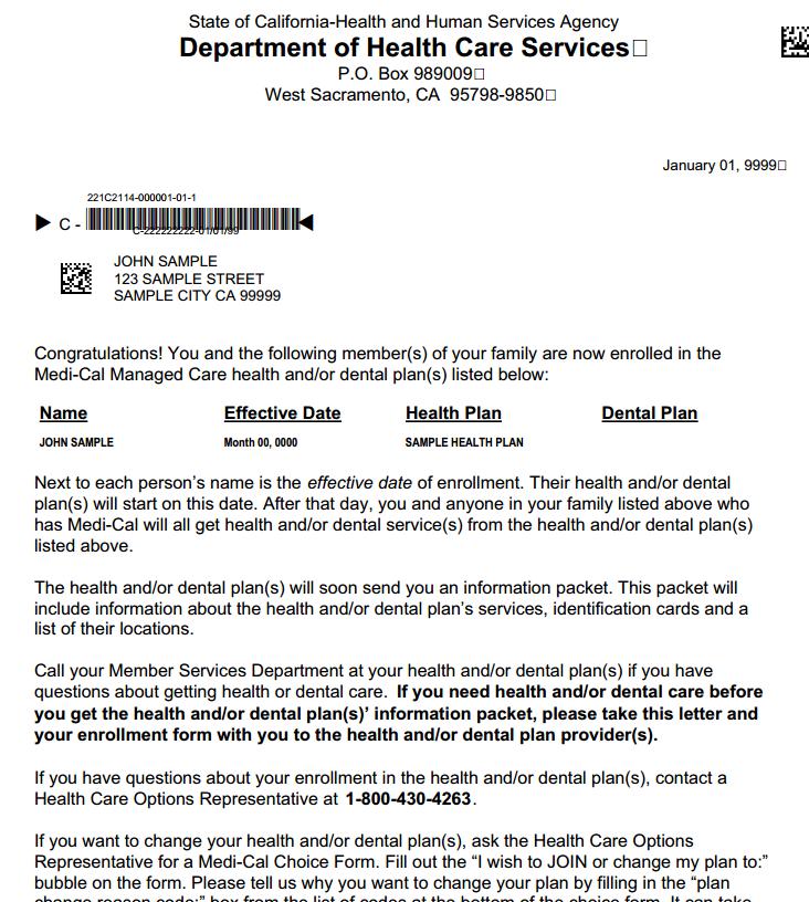 Food Stamp Eligibility Letter Sample Ca
